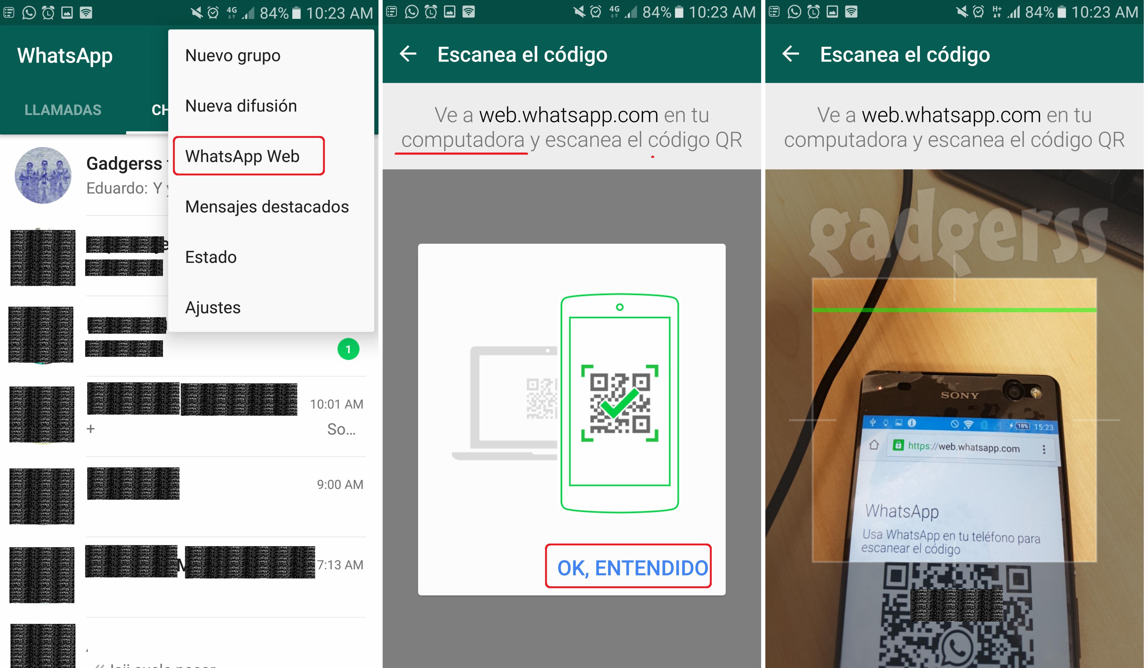 Accediendo a WhatsApp Web