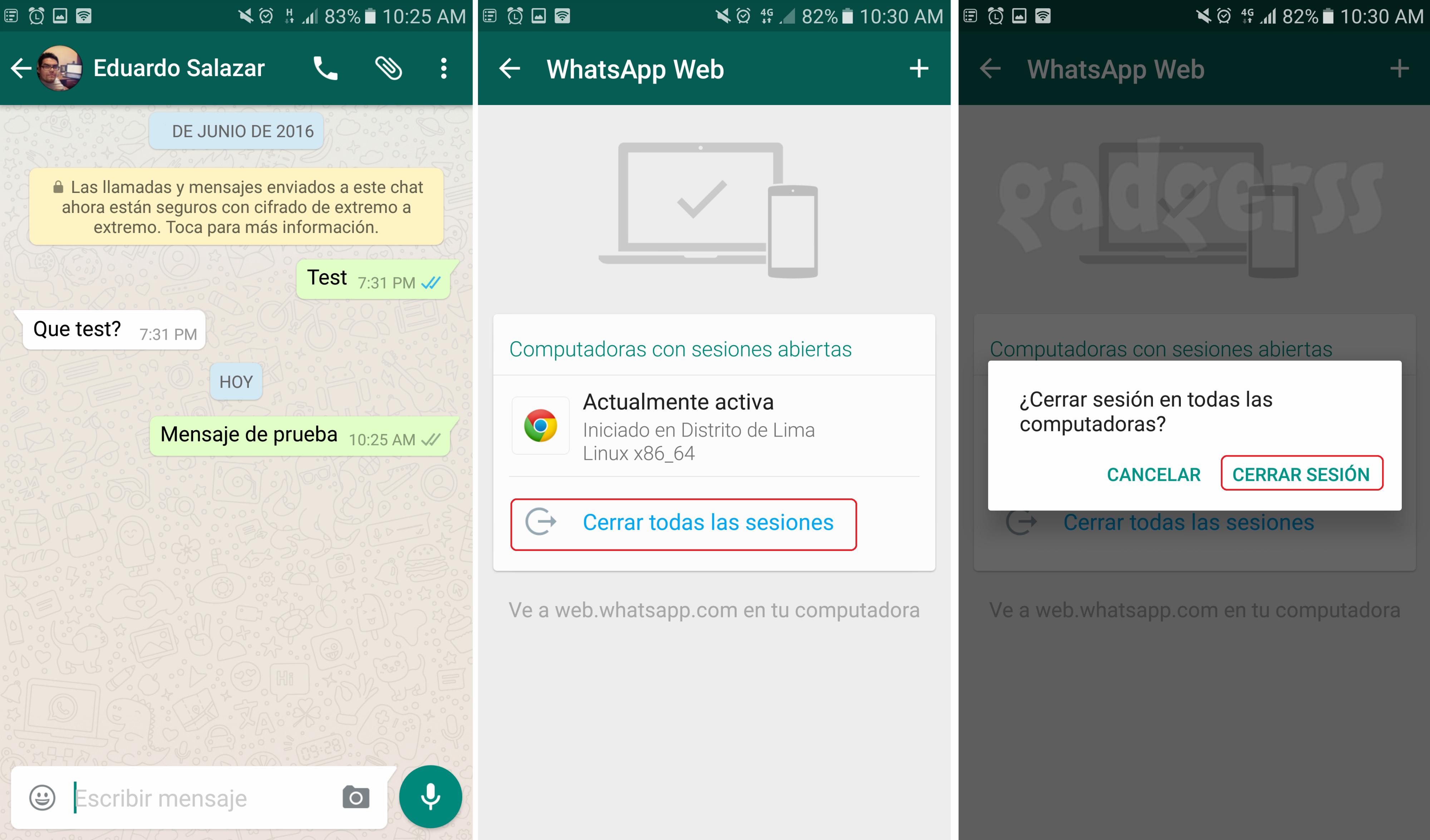 Cerrar Sesiones de WhatsApp