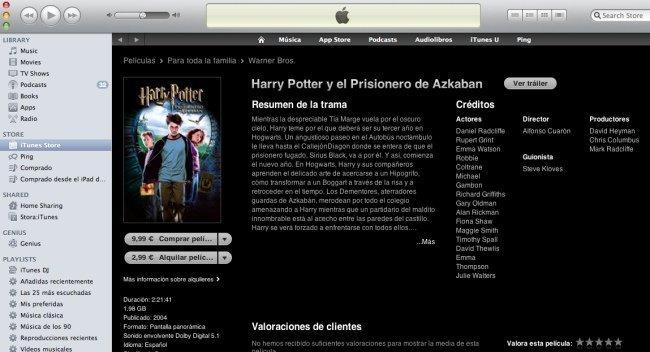 [Apple] alquilaría películas de estreno del Cine en iTunes
