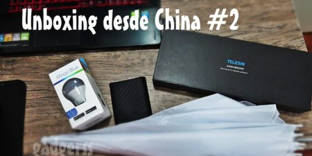 Unboxing desde China # 2: Foco LED de colores, monopod para YiCam y más