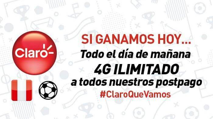Claro: Si Perú gana hoy 4G ILIMITADO todo el  día de mañana