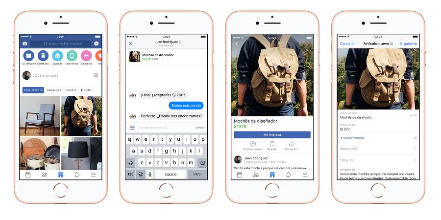 Facebook presenta su servicio de venta y compra, Marketplace, en Perú